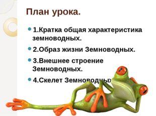 План урока. 1.Кратка общая характеристика земноводных. 2.Образ жизни Земновод