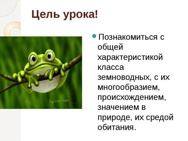 Цель урока! Познакомиться с общей характеристикой класса земноводных, с их мн...