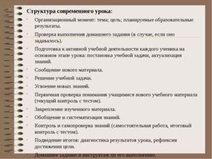 Структура современного урока: Организационный момент: тема; цель; планируемые