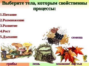 Выберите тела, которым свойственны процессы: 1.Питание 2.Размножение 3.Развит