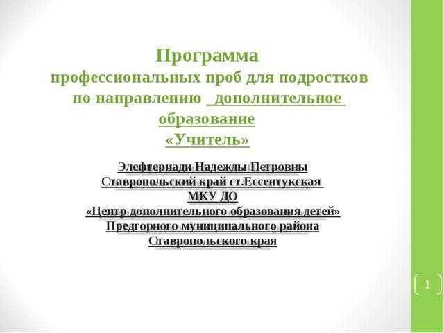 Программа профессиональных проб для подростков по направлению _дополнительное...