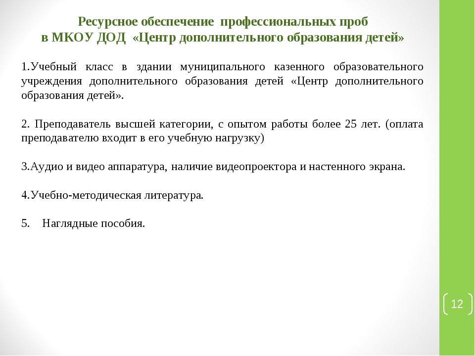 * Ресурсное обеспечение профессиональных проб в МКОУ ДОД «Центр дополнительно...
