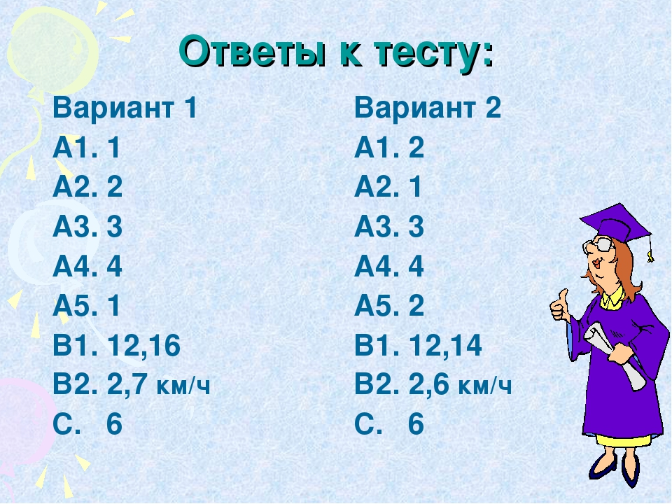 Ответы к тесту: Вариант 1 А1. 1 А2. 2 А3. 3 А4. 4 А5. 1 В1. 12,16 В2. 2,7 км/...