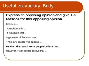 Useful vocabulary. Body. Express an opposing opinion and give 1–2 reasons for