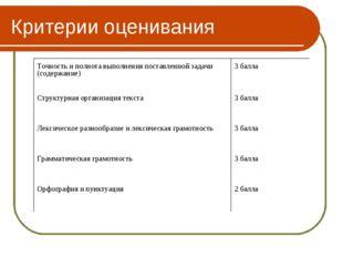 Критерии оценивания Точность и полнота выполнения поставленной задачи (содерж