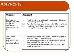 Аргументы Opinions People are less energetic and active because of comfortabl