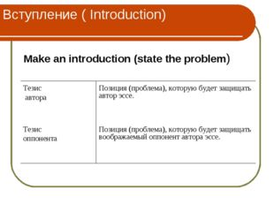 Вступление ( Introduction) Make an introduction (state the problem) Тезис авт