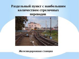 Раздельный пункт с наибольшим количеством стрелочных переводов Железнодорожна