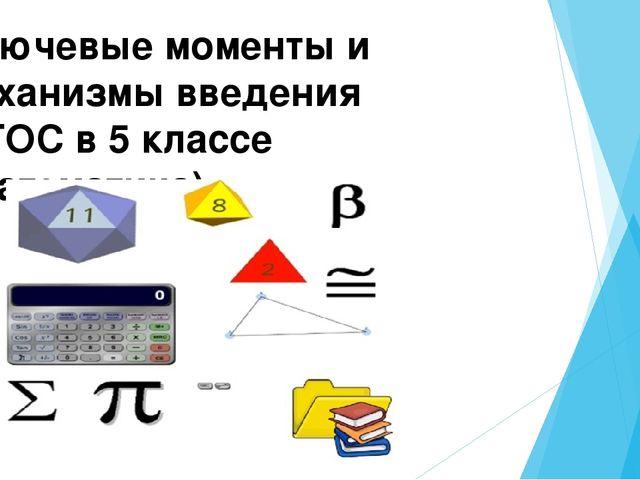 Ключевые моменты и механизмы введения ФГОС в 5 классе ( математика)