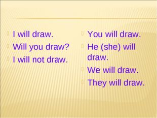 I will draw. Will you draw? I will not draw. You will draw. He (she) will dra