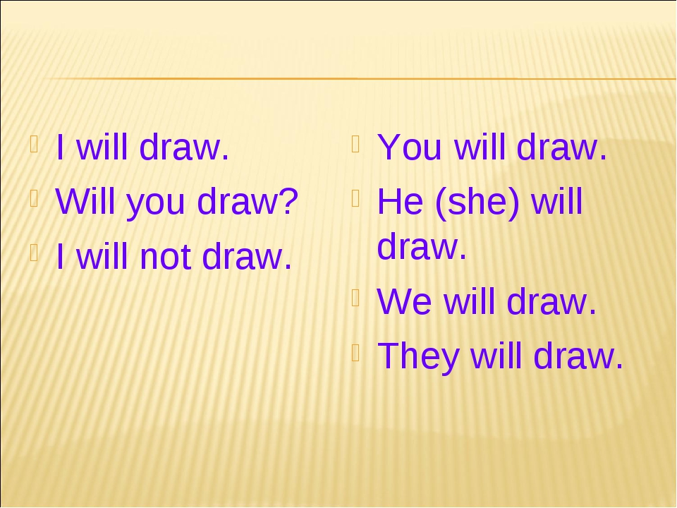 I will draw. Will you draw? I will not draw. You will draw. He (she) will dra...
