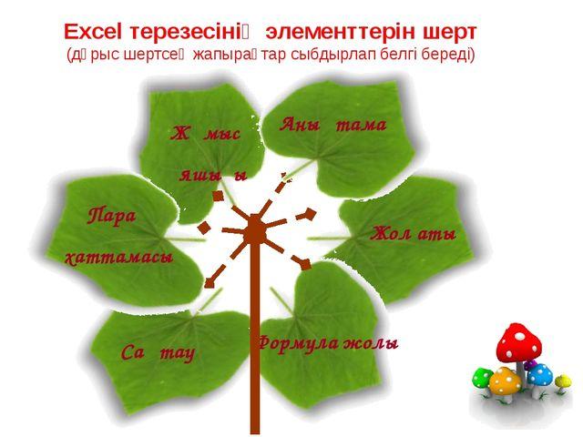 Excel терезесінің элементтерін шерт (дұрыс шертсең жапырақтар сыбдырлап белгі...