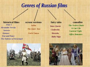 historical films screen versions fairy tales comedies The Defence of Sevastop