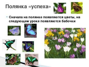 Сначала на полянке появляются цветы, на следующем уроке появляются бабочки По