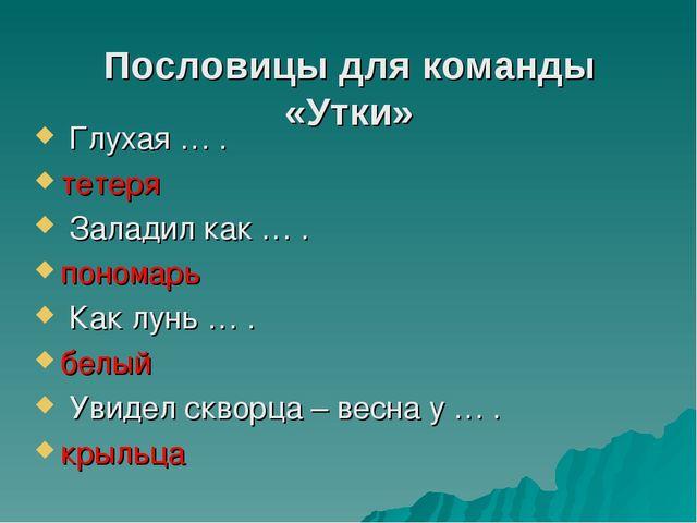 Пословицы для команды «Утки» Глухая … . тетеря Заладил как … . пономарь Как л...