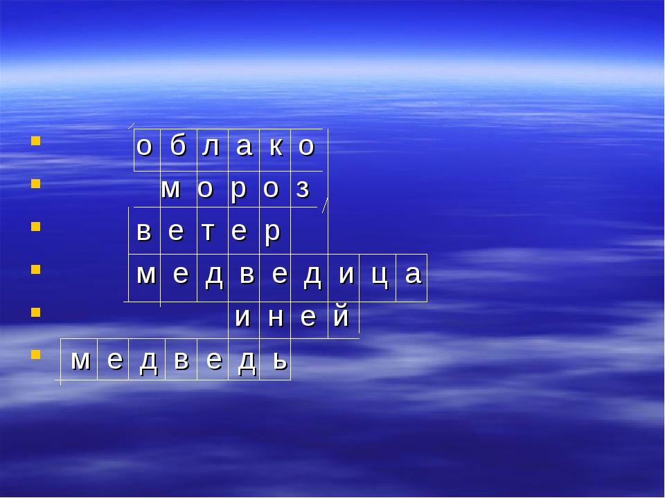 о б л а к о м о р о з в е т е р м е д в е д и ц а и н е й м е д в е д ь