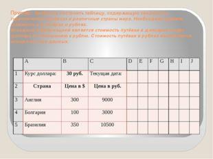 Пример: Требуется построить таблицу, содержащую сведения о туристических путё
