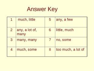 Answer Key 1 much, little 5any, a few 2any, a lot of, many 6little, mu