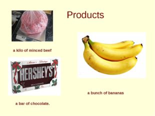 Products a kilo of minced beef a bunch of bananas a bar of chocolate.