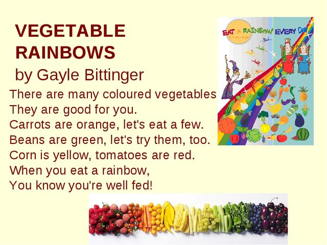 VEGETABLE RAINBOWS by Gayle Bittinger There are many coloured vegetables, T...