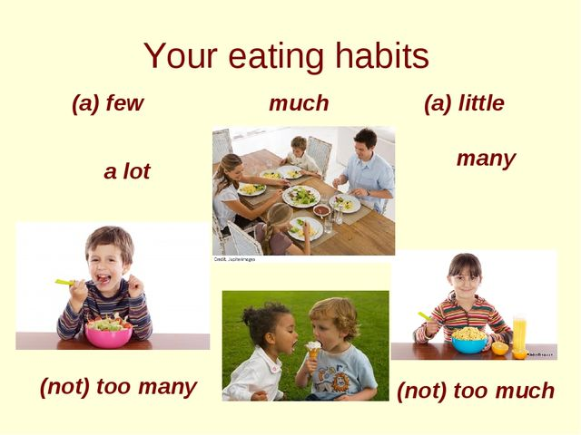 Your eating habits a lot (a) little much many (a) few (not) too many (not) t...