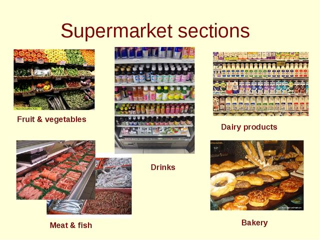 Supermarket sections Fruit & vegetables Dairy products Meat & fish Drinks Ba...