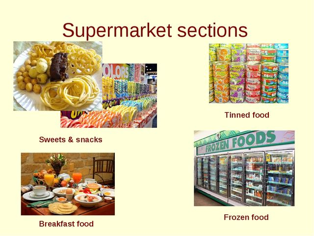 Supermarket sections Sweets & snacks Breakfast food Tinned food Frozen food