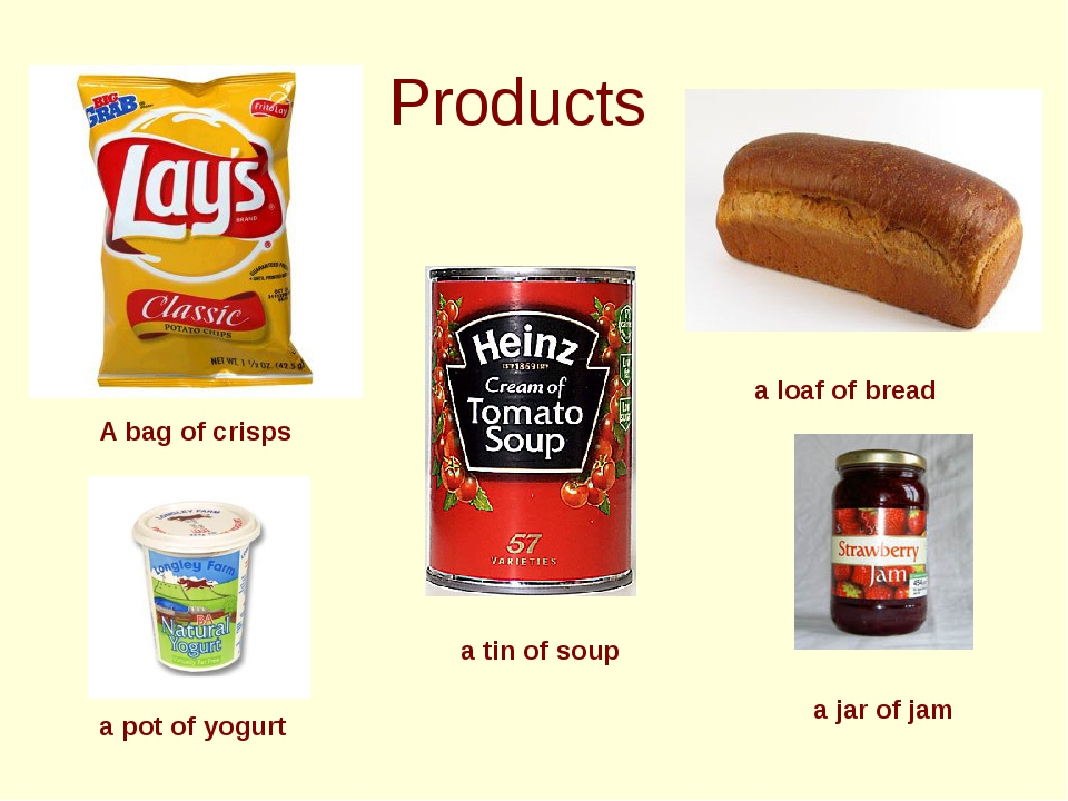 Products A bag of crisps a tin of soup a loaf of bread a jar of jam a pot of...