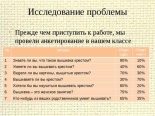 Исследование проблемы Прежде чем приступить к работе, мы провели анкетировани