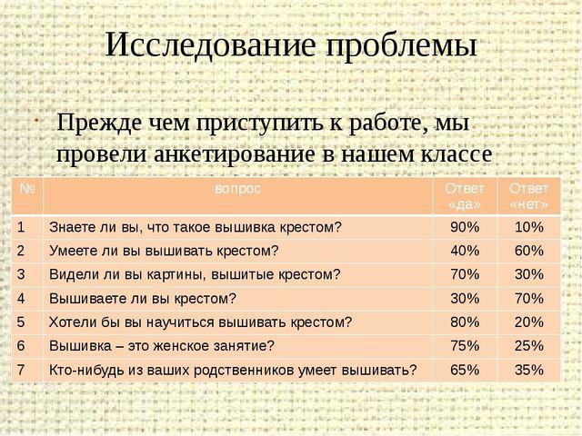 Исследование проблемы Прежде чем приступить к работе, мы провели анкетировани...