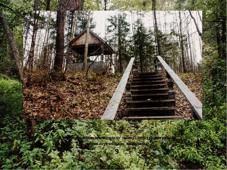 К роднику, коптированному металлической трубой, ведет деревянная лестница.
