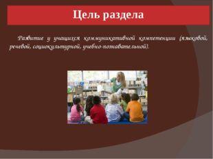 Цель раздела Развитие у учащихся коммуникативной компетенции (языковой, речев