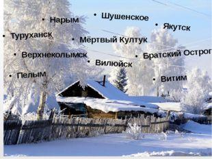 Шушенское Нарым Туруханск Мёртвый Култук Якутск Вилюйск Братский Острог Верх
