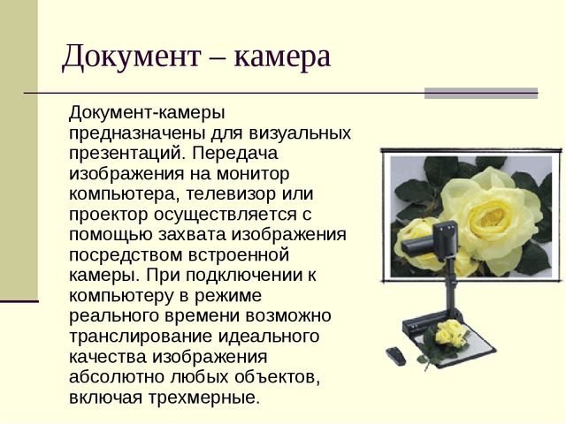 Документ – камера Документ-камеры предназначены для визуальных презентаций. П...