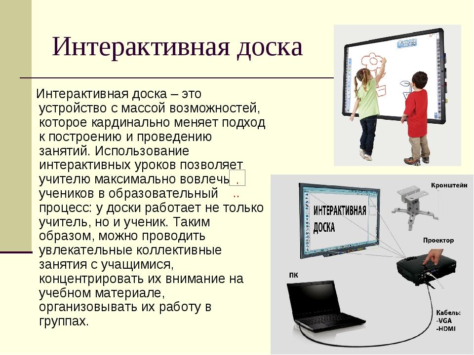 Интерактивная доска Интерактивная доска – это устройство с массой возможносте...