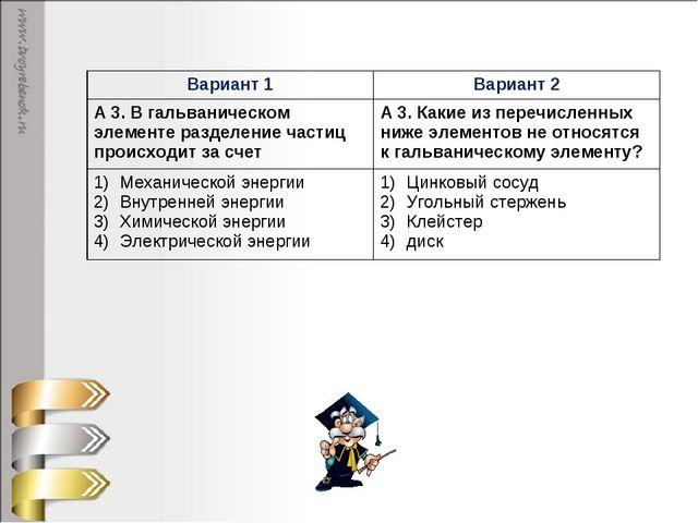 Вариант 1Вариант 2 А 3. В гальваническом элементе разделение частиц происход...