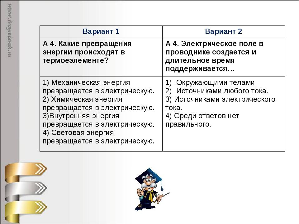 Вариант 1Вариант 2 А 4. Какие превращения энергии происходят в термоеэлемент...