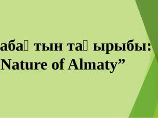"""Сабақтын тақырыбы: """"Nature of Almaty"""""""