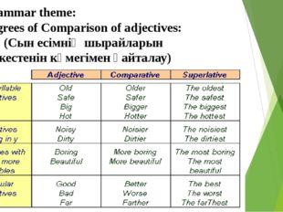 Grammar theme: Degrees of Comparison of adjectives: (Сын есімнің шырайларын к