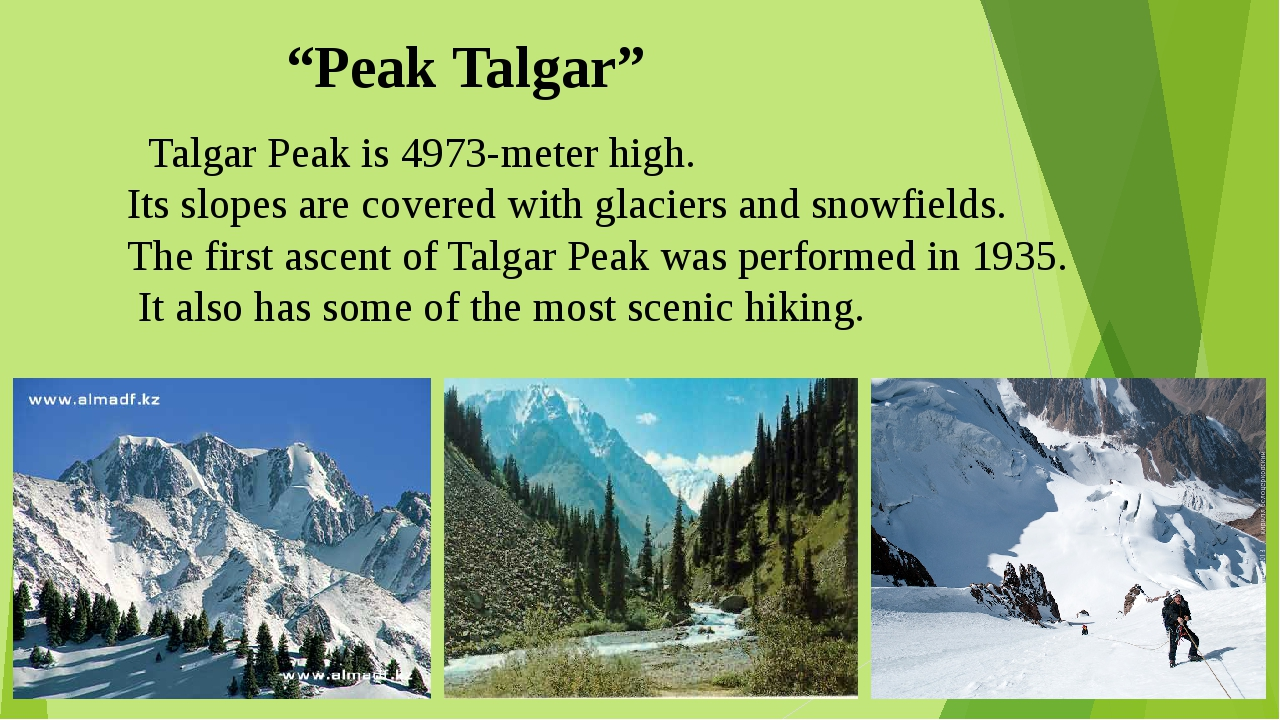 """Peak Talgar"" Talgar Peak is 4973-meter high. Its slopes are covered with gl..."