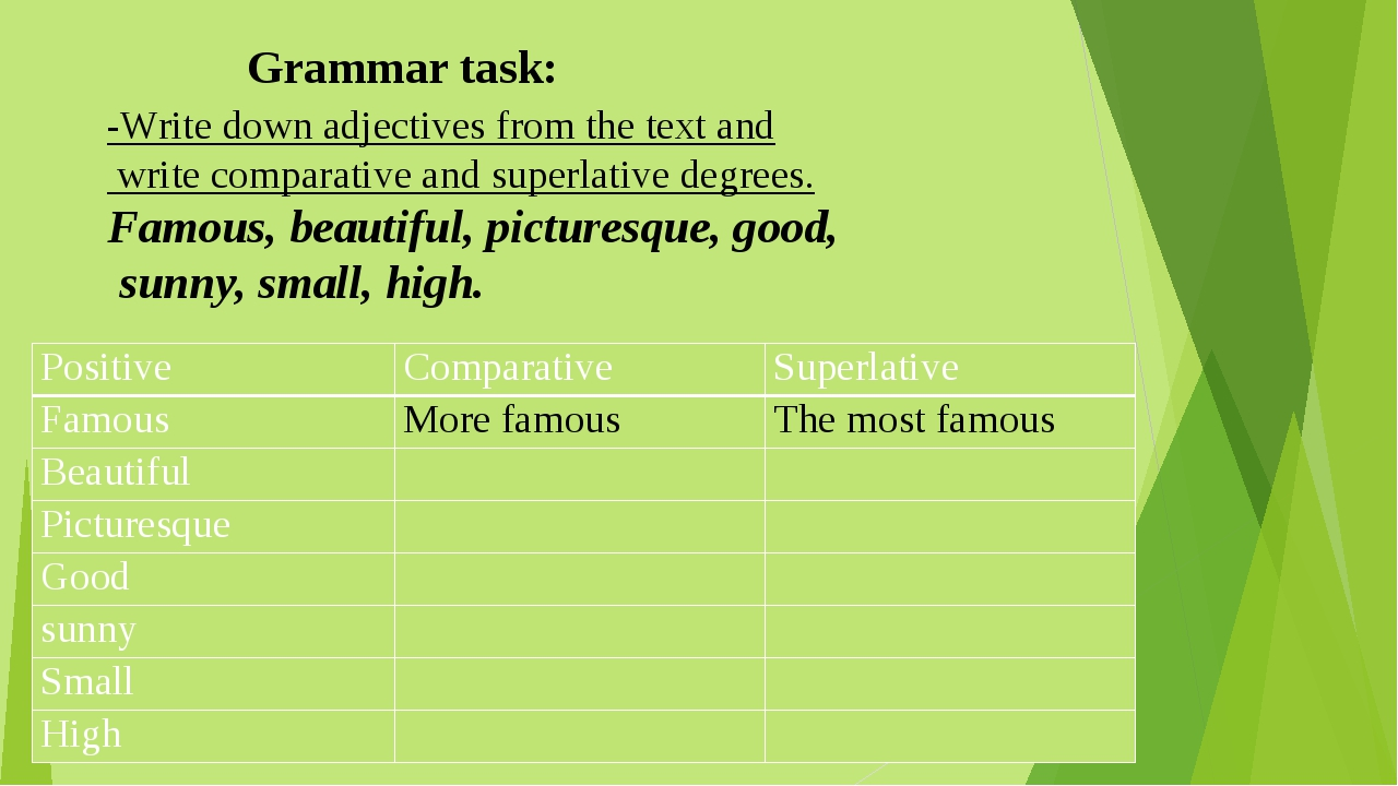 -Write down adjectives from the text and write comparative and superlative de...