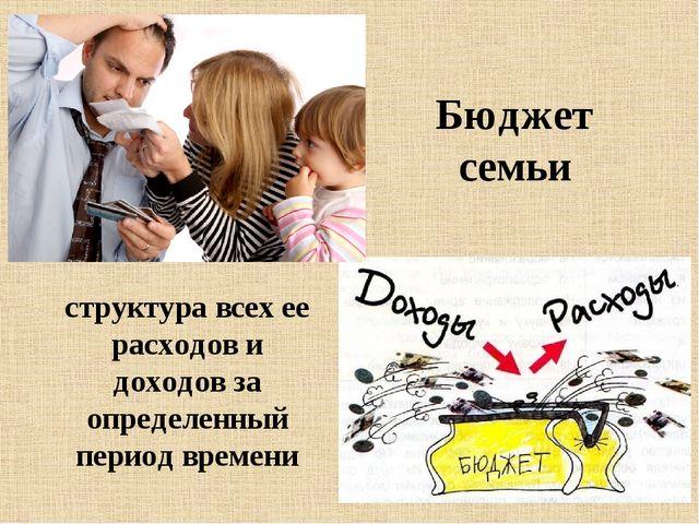 Бюджет семьи структура всех ее расходов и доходов за определенный период врем...