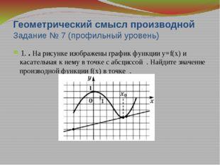 Геометрический смысл производной Задание №7 2. На рисунке изображены график ф