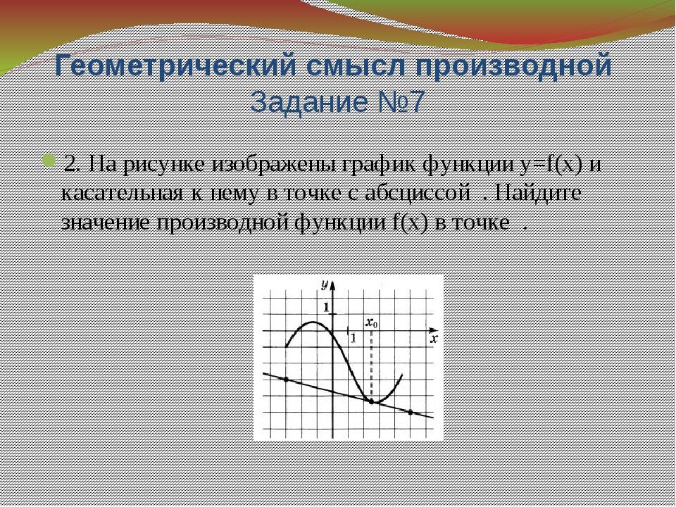 Признак возрастания(убывания) функции Задание №7 4. На рисунке изображён граф...