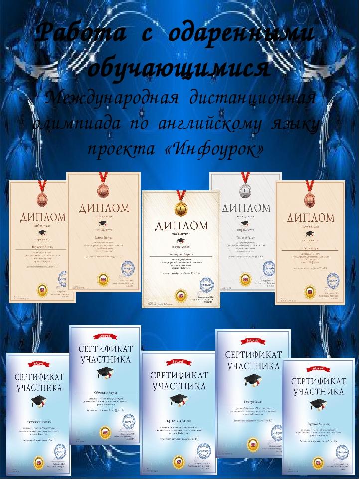 Ин Работа с одаренными обучающимися Международная дистанционная олимпиада по...