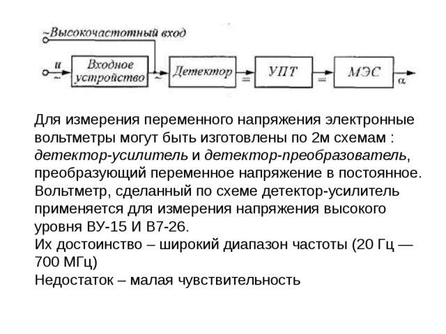 Для измерения переменного напряжения электронные вольтметры могут быть изгото...