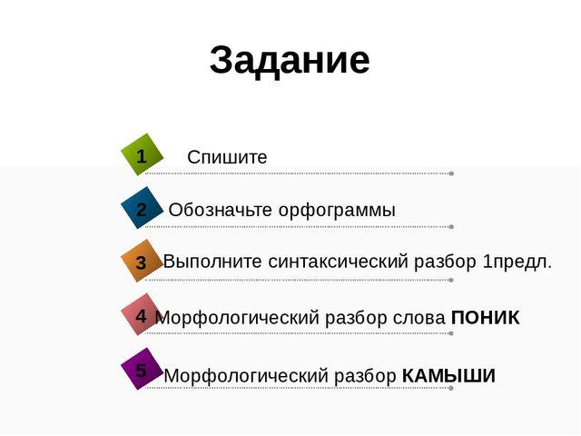 Задание Морфологический разбор слова ПОНИК 4 Спишите 1 Обозначьте орфограммы...