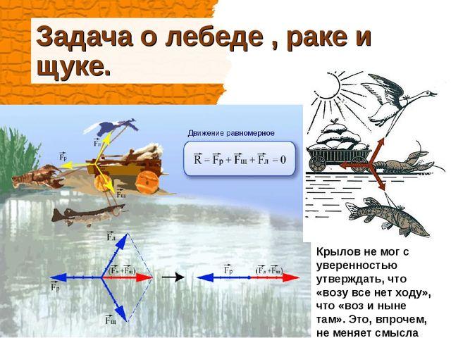 Задача о лебеде , раке и щуке. Крылов не мог с уверенностью утверждать, что «...
