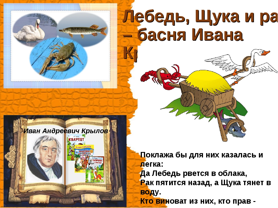 Лебедь, Щука и рак – басня Ивана Крылова Поклажа бы для них казалась и легка:...