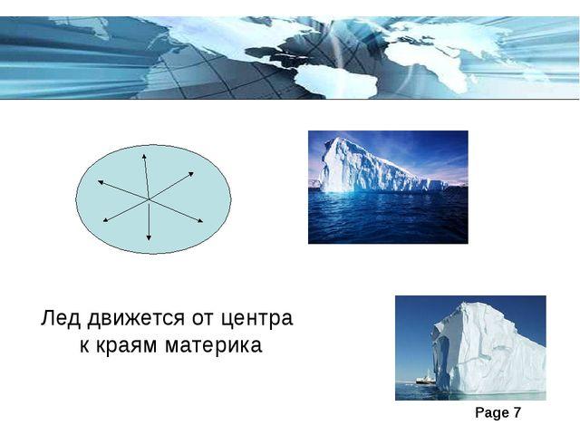 Лед движется от центра к краям материка Page